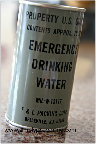 government issue mre can of emergency drinking water