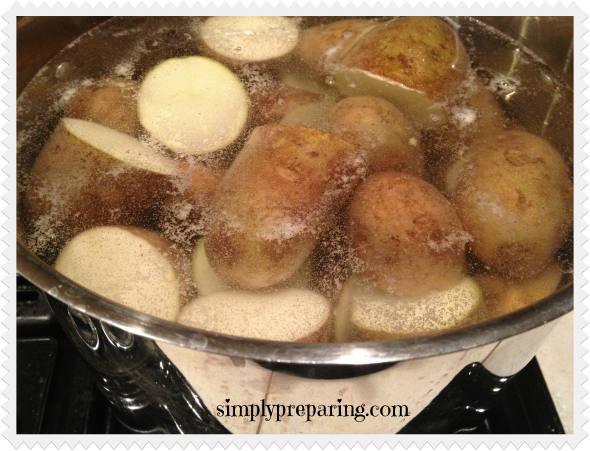 Dehydrating pototoes-step one, boiling
