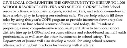 white house seeks to fund school resource officers