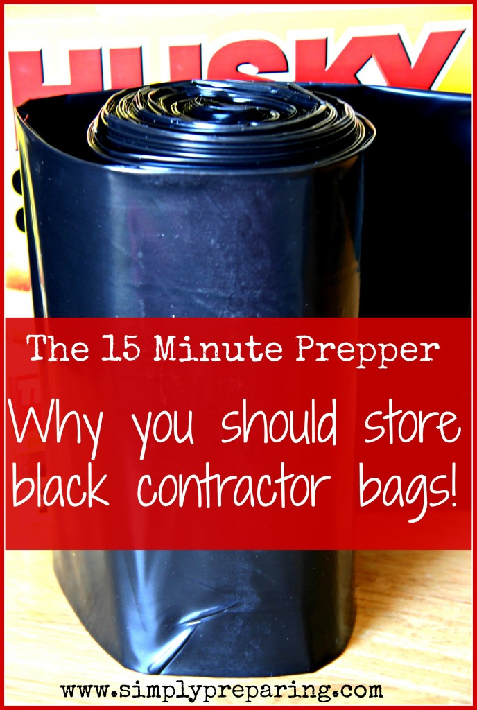 Prepper uses for black contractor grade garbage bags.