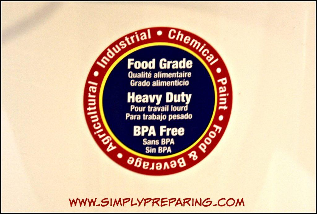 Use food grade 5 gallon buckets to store bulk foods.